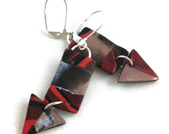 Dangle earrings triangle and rectangle stoney clay lightweight earrings