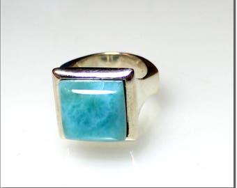 Impressive Natural Genuine Sky Blue Larimar .925 Sterling Silver Ring #8  C-45-1809