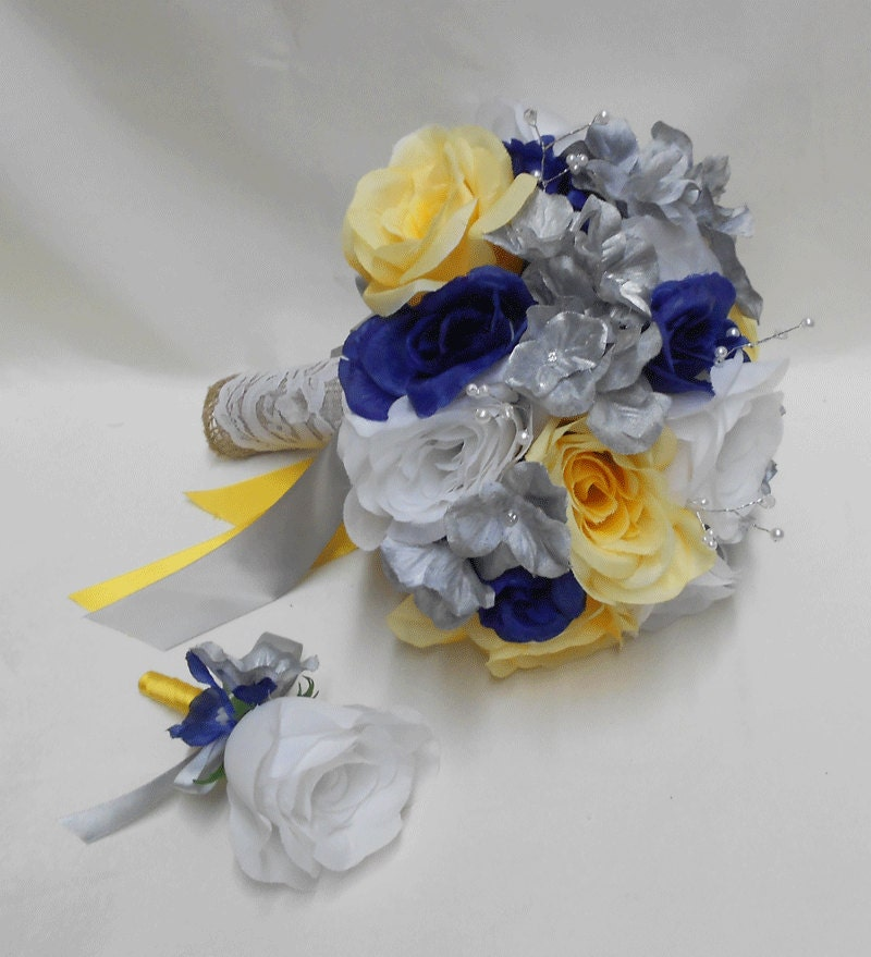 Yellow Wedding Flowers Ideas: Wedding Navy Blue Yellow Grey Silver Bridal Bouquet Silk