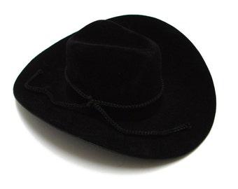 Black Mini Flocked Felt Cowboy Hats