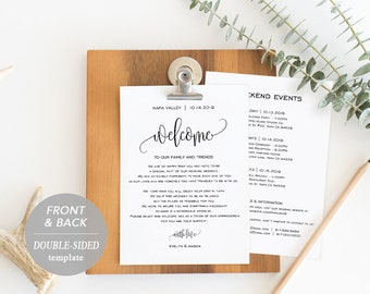 Wedding Itinerary Card, Welcome Note, Printable Wedding Itinerary, Agenda, Schedule, Welcome Bag Letter, Instant Download, PDF Template