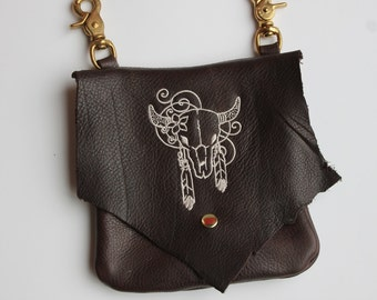 Leather Hip Bag with Machine Embroidered Steerhead