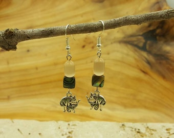 Sale~Motherly Love Abalone and Cat's eye dangle earrings