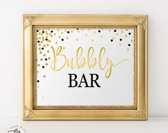 Black and Gold Confetti Bubbly Bar - Bridal Shower, Wedding, Engagement, New Years Eve, Birthday Printable