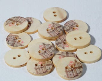 Set of 10 wooden birdcages buttons