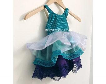 SALE Baby girl toddler purple teal mint iridescent arial little mermaid party costume tutu cake smash short dress