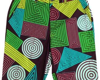 Geometric wax fabric shorts