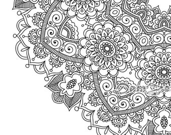 Mandala design etsy for Blank flower coloring pages