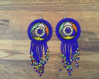 NAMACICI royal - Zulu Beaded Earrings - royal blue