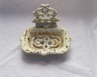 Treasury Item Vintage Shabby Chic Cast Iron Soap Dish White and Rusty Chippy