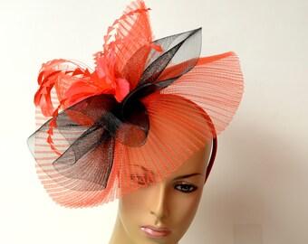 Red/black fascinator,Fancy fascinator,Women's Tea Party Kentucky Derby Hat, Wedding Hat, Church Hat, Formal Hat, Dressy Hat,