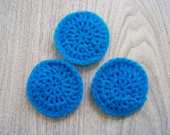 Dish  Scrubbies,  Blue Scrubbies, Crochet Scrubbie, Nylon Scrubbie,  Pot Scrubber, Set of 3 (Free US Shipping)