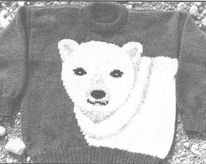 eweCanknit pattern 089: Polar Bear knitting pattern for youth sizes using chunky yarn
