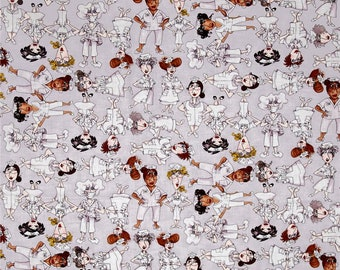 Nifty Nurses Grey Tossed by Loralie Cotton Quilting Fabric 1/2 YARD