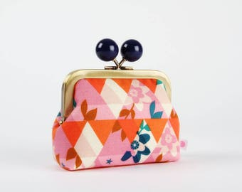Metal frame coin purse with color bobble - Kaleidoscope orange - Color dad / Cotton and Steel / red pink navy blue / Melody Miller