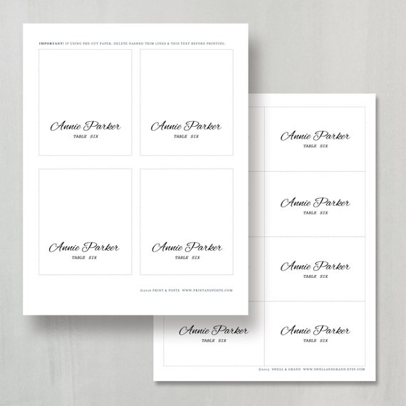 Printable Place Card Template Instant Download Calligraphy