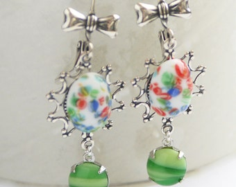 Floral Millefiori Glass Earrings in Silver, Vintage Japanese Glass Earrings,  Silver Earrings, Green Earrings, Gift for her, SRAJD