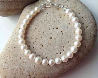 Classic 7mm Freshwater Pearl Bracelet Ivory White 6.5 to 8.5 Inches