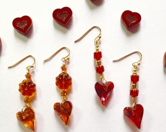 Heart Earrings with Swarovski Crystals, Red and Burnt Orange, Czech Beads