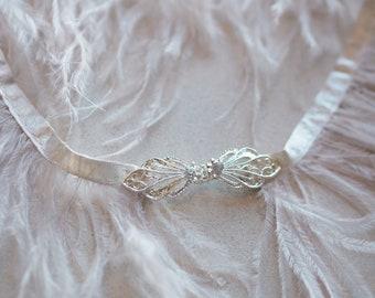 Ostrich Feather Swarovski Crystal Clasp Bridal Belt