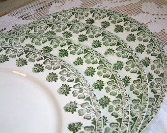 Set of 4 antique french transferware plates. Antique green transferware dinner plate Antique ironstone. Clover motif. French country