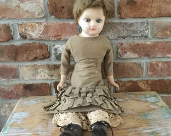 Antique Wax Over Composition Doll Blue Glass Spiral Eyes Cloth Stuffed Body Original Clothes and Wig 1870s
