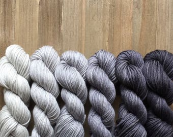 Hand Dyed Yarn, Worsted Weight 4ply, 100% Superwash Merino  Wool, Charcoal Gradient Set on Hearty Worsted Yarn