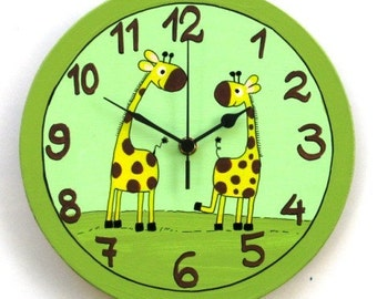 Round Wall Clock With Giraffes Painting