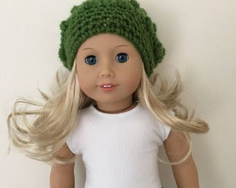 Green doll hat - ready for winter! Fits 18 inch dolls such as American Girl, Our Generation. Doll hat.