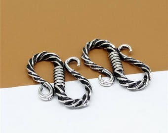 4 Sterling Silver S Clasps, 925 Silver S Clasp, Hook Clasp, Sterling Silver Hook Clasp Connector, Clasp Connector,  Sterling S Hook - LA507
