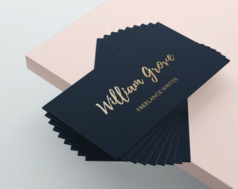 Gold Business Card, Writers Business Card Design, Blue Business Card, Business Card Template, Premade Business Card, Custom Business Card