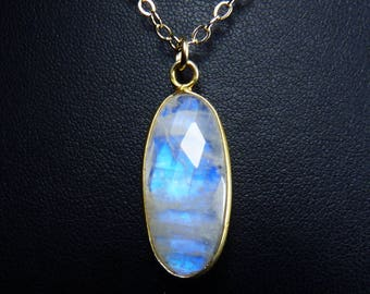Faceted Rainbow Moonstone and Gold Necklace, Faceted Rainbow Moonstone Pendant, Cobalt Blue, Cornflower Blue, and Turquoise Fire, Gold Bezel