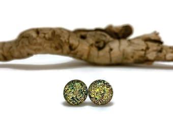 Dichroic glass jewelry, handmade dichroic glass, Dichroic Glass stud earrings, fused glass earring, dichroic glass handmade