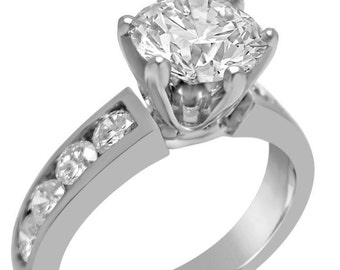 2.21ctw round cut CHANNEL set diamond engagement ring 14k white gold