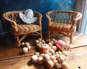 wicker doll chairs, toy furniture, vintage doll decor, wicker chair, boho toy decor, barbie furniture, 2 mini loveseats, doll housedecor
