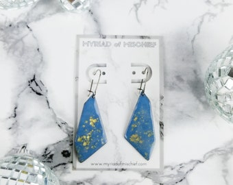 Serenity Blue Geo Dangle Enamelled Earrings with Gold Flecks