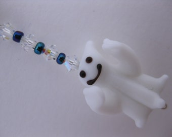 Spooky Scary Cute Happy Ghost Charm for Cell Phone, Flash Drive, Camera, Zipper Pull w/Swarovski Crystals & Metallic Glass (Halloween Gift)