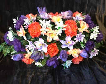Large Headstone Saddle /Cemetery Spring Flowers ~ Purple Lavender Tangerine Peach