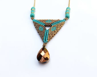 Peyote Triangle Pendant , Seed Bead Pendant , Beaded Necklace , Turquoise and bronze necklace , Geometric bead Pendant , Triangle Necklace