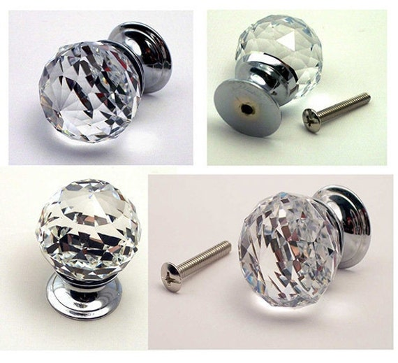 Superbe Round Crystal Cabinet Door Pull Knobs Crystal Drawer Pulls Diamond Cut  Clear Doorknob Drawer Door Pull Knob FIVE Pack Cabinet Hardware