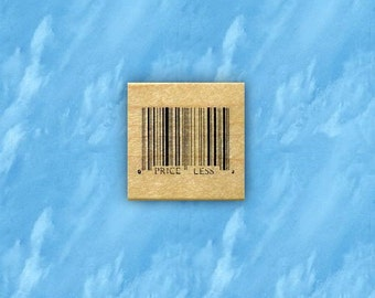 Barcode - Priceless mounted rubber stamp, UPC symbol, shopping price code, Sweet Grass Stamps No.15