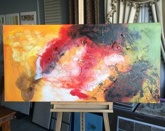 "Oil painting by hand made on canvas ,   27.5""X 55""  Ready to Hang, Inner Frame."