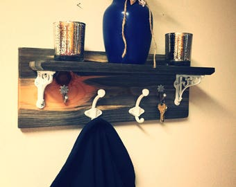 "Unique coat rack with shelf | Housewarming gift | New home gift | Home decor | 19""x7"""