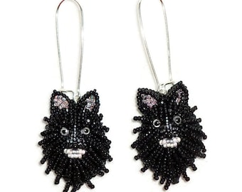 Black POMERANIAN keepsake bead embroidery dog earrings- Gift for Her- Ready to Ship