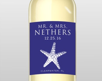 Starfish Connection Custom Wine Labels - Starfish Beach Theme Wedding Favor - WEATHERPROOF and REMOVABLE - Wine Bottle Labels