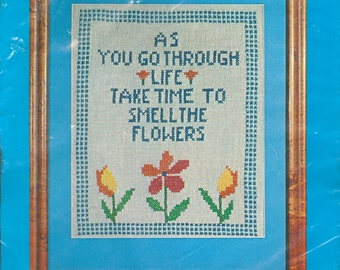 "1975 Take Time To Smell the Flowers DIY NIP Crewel Creative Stitchery Kit 10"" x 12"" - Vintage Vogart Crafts Kit 2134"