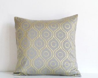 Silver gray silk throw pillow, gold metallic print on gray silk, gold cushion cover