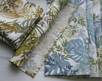 Linen Dinner Napkins. Tropical Napkins. Tropical Leaf Napkins. Organic Cloth Napkins. Blue Green Palm Leafs. Easter gift