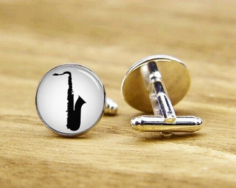 cufflinks, saxophone cufflinks, saxophone cuff links, custom  instrument, custom wedding cufflinks, round square cufflinks, tie clip or set
