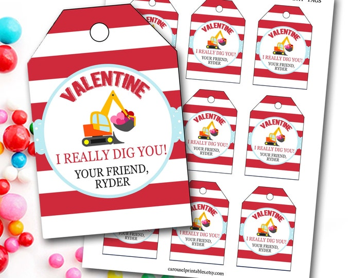 Valentine's Day Tag, Boy Valentine's Day Tag, Digger Valentine's Tag, Personalized Valentine's Gift Tag, Party Favor Tags, DIY Printable